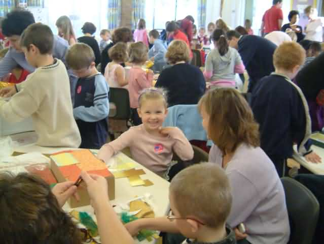 family learning in action at St Peters School activity day making story boxes